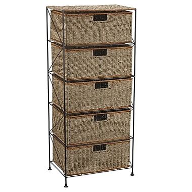 Household Essentials® Seagrass/Ratta Storage Unit With 5 Drawers, Black
