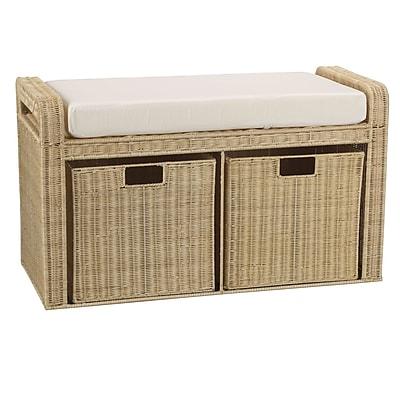 Household Essentials® Woven Rattan Storage Bench, Natural