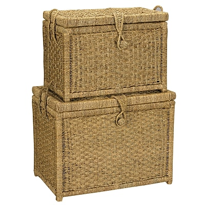 Household Essentials® Seagrass Chests With Seagrass Woven Button Latch, Light Brown