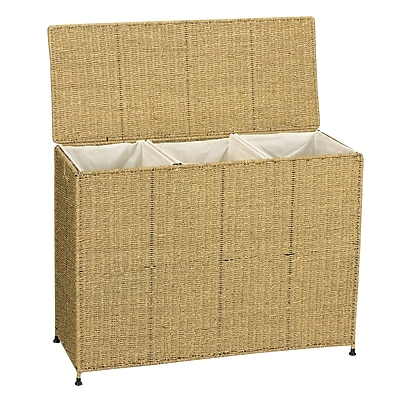 Household Essentials® Woven Seagrass Triple Laundry Sorter With Removable Bags, Natural