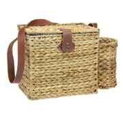 Household Essentials® Banana Leaf Picnic Basket With Wine Caddy For 2 People, Natural