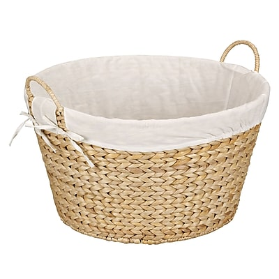 Household Essentials® Round Banana Leaf Laundry Basket, Natural