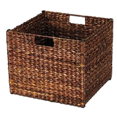 Household Essentials® Banana Leaf Square Laundry Storage Bin, Dark Brown