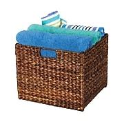 Household Essentials® Banana Leaf Square Laundry Storage Bin, Dark Brown (ML-6966B)