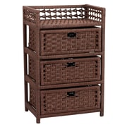 Household Essentials® Paper Rope 3 Drawer Chest, Dark Stained