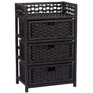 Household Essentials® Paper Rope 3 Drawer Chest, Black