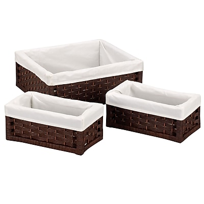 Household Essentials® Paper Rope Utility Basket, Dark Brown, 3/Set