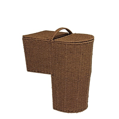 Household Essentials® Woven Paper Rope Lined Stairstep Basket With Lid, Dark Brown