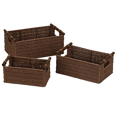Household Essentials® Paper Rope Wood Handle Baskets, Dark Stained