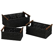 Household Essentials® Paper Rope Baskets With Wood Handles, Black (ML-7052)
