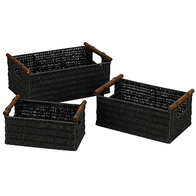 Household Essentials® Paper Rope Baskets With Wood Handles, Black