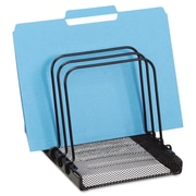 Rolodex™ Five Section Mesh Flip File Folder Sorter, Black/Silver