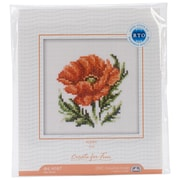 """Poppy Flower Counted Cross Stitch Kit, 4""""X4"""" 14 Count"""