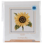 """Sunflower Counted Cross Stitch Kit, 4""""X4"""" 14 Count"""