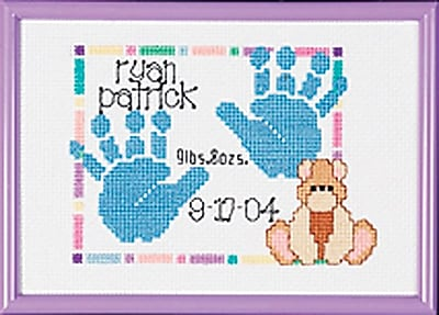 Special Moments Baby Handprints Mini Counted Cross Stitch Kit, 7