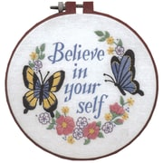 """Learn-A-Craft Believe In Yourself Crewel Embroidery Kit, 6"""" Round Stitched In Thread"""