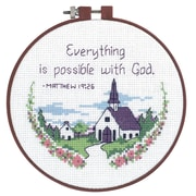 """Learn-A-Craft Everything Is Possible Counted Cross Stitch Kit, 6"""" Round 14 Count"""