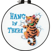 """Learn-A-Craft Hang In There Stamped Cross Stitch Kit, 6"""" Round"""