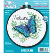 "Learn-A-Craft Welcome Butterfly Counted Cross Stitch Kit, 6"" Round 14 Count"