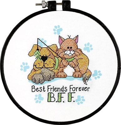 Learn-A-Craft Best Friends Forever Stamped Cross Stitch Kit, 6