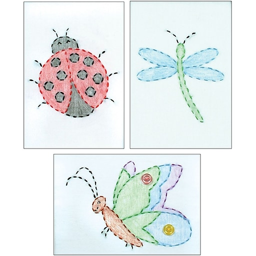 Stamped Embroidery Kit Beginner Samplers 6x8 Cute As A Bug Staples