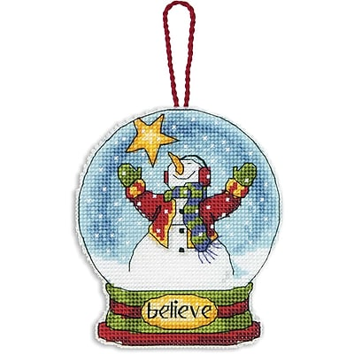 Believe Snowglobe Counted Cross Stitch Kit, 3-3/4