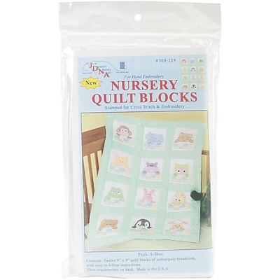 Stamped White Nursery Quilt Blocks 9