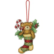 """Susan Winget Bear Ornament Counted Cross Stitch Kit, 3-1/4""""X4-1/2"""" 14 Count Plastic Canvas"""