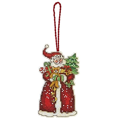 Susan Winget Santa Ornament Counted Cross Stitch Kit, 2-3/4