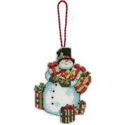 "Susan Winget Snowman Ornament Counted Cross Stitch Kit, 3-1/4""x4-1/2"" 14 Count Plastic Canvas"