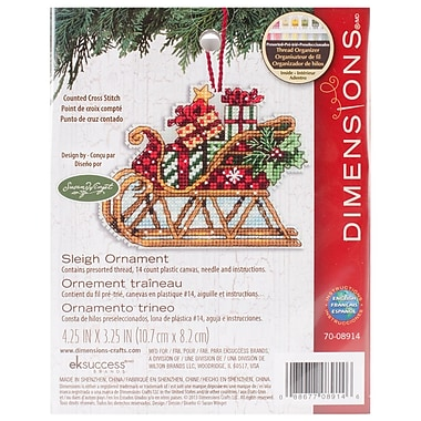 Susan Winget Sleigh Ornament Counted Cross Stitch Kit, 4-1/4