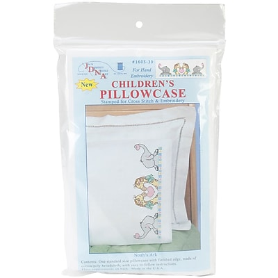 Children's Stamped Pillowcase With White Perle Edge, Noah's Ark
