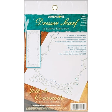 Filigree Scroll Dresser Scarf Stamped Embroidery, 14