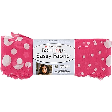 Red Heart Boutique Sassy Fabric Yarn, Pink Dot