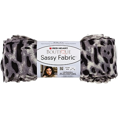Red Heart Boutique Sassy Fabric Yarn, Snow Leopard