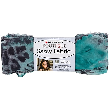 Red Heart Boutique Sassy Fabric Yarn, Teal Panther
