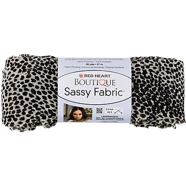 Red Heart Boutique Sassy Fabric Yarn, White Cheetah