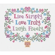 """Live, Love, Laugh Counted Cross Stitch Kit, 8""""X7"""" 14 Count"""