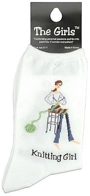 The Girls Socks, Knitting Girl - White