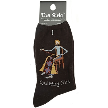 The Girls Socks, Quilting Girl - Black