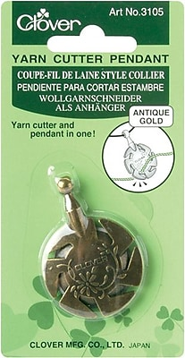 Yarn Cutter Pendant, Antique Gold