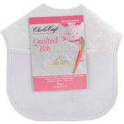 "Quilted Baby Bibs 9""X9"", White With Solid White Trim"