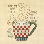 """Friends And Coffee Mini Counted Cross Stitch Kit, 5""""X6"""" 14 Count"""
