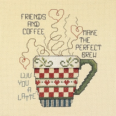 Friends And Coffee Mini Counted Cross Stitch Kit, 5