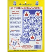Aunt Martha's Iron-On Transfer Collections, 50 State Americana Quilt