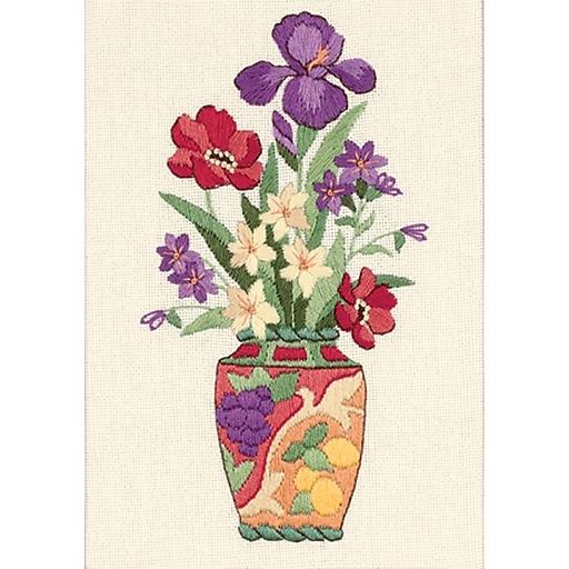 """Elegant Floral Mini Crewel Kit, 5""""X7"""" Stitched In Thread"""