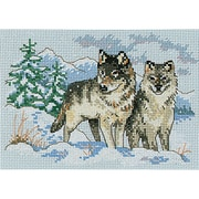 "A Pair Of Wolves Mini Counted Cross Stitch Kit, 7""X5"" 16 Count"