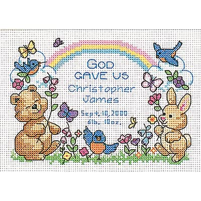 """""God's Babies Birth Record Mini Counted Cross Stitch Kit, 7""""""""X5"""""""" 14 Count"""""" 31625"