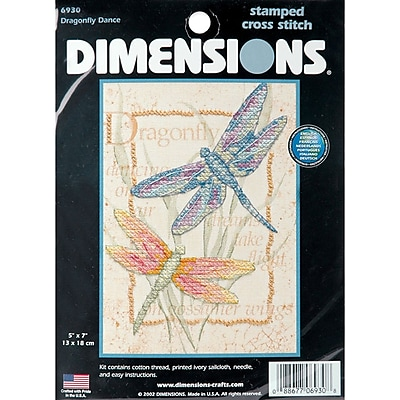 Dragonfly Dance Mini Stamped Cross Stitch Kit, 5