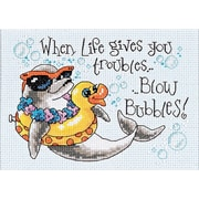"""Blow Bubbles Mini Counted Cross Stitch Kit, 7""""X5"""" 14 Count"""